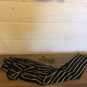 Black pants with white pin stripe